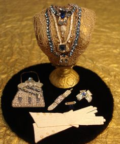 "Miniature 1:12 scale OOAK  ""Estate"" style Sapphire jewelry display"