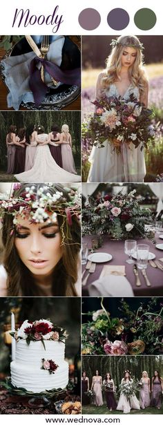 8 Chic Moody Wedding Color Palettes That Celebrate the Season 2019 trends moody wedding ideas mauve bridesmaid dresses dark purple bouquet for wedding colors moody color palette March Wedding Colors, Vintage Wedding Colors, Dark Purple Wedding, Mauve Wedding, Wedding Flowers, Wedding Bouquets, Wedding Color Pallet, Wedding Color Schemes, Colour Schemes
