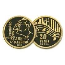 Moeda brasileira de ouro de 20 reais alusiva ao centenário de nascimento do Ary Barroso 2003