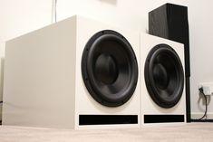 Dayton 12″ HO DVC Build | Parts Express Project Gallery 12 Subwoofer Box, Home Theater Subwoofer, Dayton Audio, Sub Box, Speaker Amplifier, Diy Speakers, Audio Room, Speaker Design, Loudspeaker