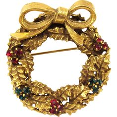 Vintage Rare Jeanne Holiday Wreath Pin
