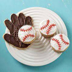 Baseball themed cupcakes
