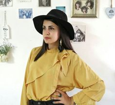 Vintage mustard bow blouse with gold by girlsaboutcity on Etsy