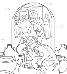free coloring pages miracles of jesus | Jesus turns water into wine at a wedding in Cana (John 2 ...