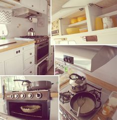 i LOVE this motorhome reno! Rv Living, Tiny Living, Vintage Rv, Vintage Motorhome, Vintage Campers, Rv Interior, Camper Renovation, Camper Makeover, Trailer Remodel