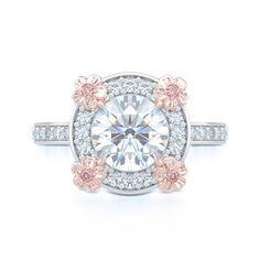Custom Made Engagement Halo Ring in White Gold, Rose Gold Florets,Round Brilliant Diamond. Fancy Pink Diamonds. Vintage Inspired Design. Boca Raton Florida Bashert Jewelry