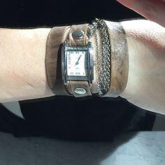 La Mer Jewelry - La Mer Taupe Silver Double Wrap Multichain Watch
