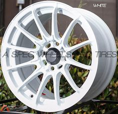 15X8 KONIG DIAL IN Wheels 4X100 WHITE RIM +25MM FITS 4 LUG HONDA CIVIC 1980-2005