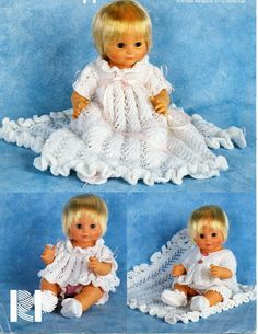 Doll Knitting PATTERN PDF- 5 piece Layette set including Christening Dress, Jacket and Booties Sirdar Knitting Patterns, Baby Knitting, Crochet Patterns, Doll Patterns, Knitting Dolls Clothes, Knitted Dolls, Doll Clothes, Baby Clothes Patterns, Baby Christening