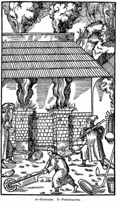"""A smelter from the 1500s - drawing of Georgius Agricola's work """"De Re Metallica"""" from 1556 (Source: Project Gutenberg)."""