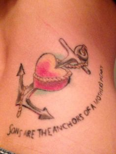 """Pin for Later: Got Ink? 31 Real Moms Play Show-and-Tell With Their Tattoos  """"'Sons are the anchors of a mother's heart,' and my brother designed it. No regrets!"""" — Jennifer Callihan"""