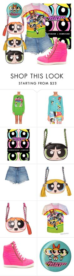 """POWERPUFF GIRL"" by adelaida0912 ❤ liked on Polyvore featuring Moschino, THE POWERPUFF GIRLS and T By Alexander Wang"