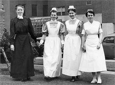 Beth Israel Deaconess Medical Center, 1953:  New England Deaconess Hospital School of Nursing student nurses gathered in May to portray the uniforms of the original Deaconesses who started the hospital in 1896, and uniforms up to the then-present day. From left were Gloria Hodson, 1896; Anne Griffith, 1903; Marilyn Moore, 1914; and Ellen Phillips, 1953.