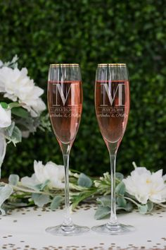 b4adaecb6c07 Personalized Kate Spade Orleans Square Toasting Flutes (Set of TWO) Custom  Engraved Gold Rim Champagne Glasses, Wedding Engagement Gift