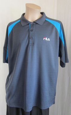 FILA Men's Gray Blue Logo Golf Tennis Short Sleeve Polo Shirt XXL 2XLarge #Fila #ShirtsTops