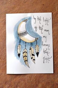 MOONCATCHER// 8.5 x 11 original art print/ moon dream catcher/ dreamcatcher/ feathers/ sweet dreams/ boho decor