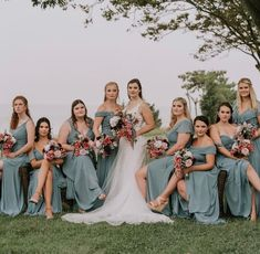 🌸Happy first day of Spring! We are obsessed with these gorgeous bridesmaid dresses! This stunning shot is 🔥 and the accent of the pink flowers, Chefs Kiss!👏 These beauties are wearing designer Morilee mixed styles in the color Deep Sea. Designer Bridesmaid Dresses, Designer Dresses, Bride Dresses, Mori Lee Bridesmaid, Bridesmaids, Wedding Gowns, Wedding Day, Mix Style, Allure Bridal