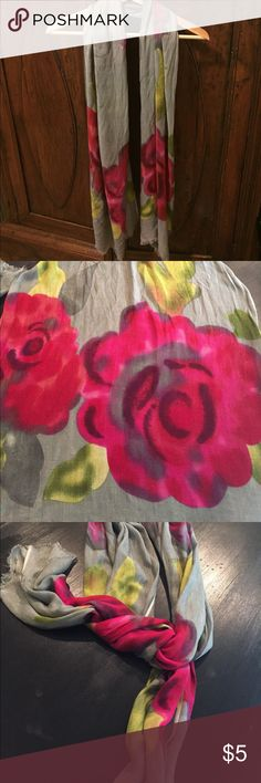 Grey scarf with pink and yellow flowers 6 ft long Accessories Scarves & Wraps