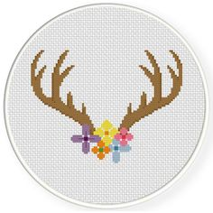 FREE Pretty Floral Antler Cross Stitch Pattern
