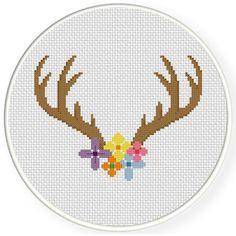 FREE Pretty Floral Antler Cross Stitch Pattern