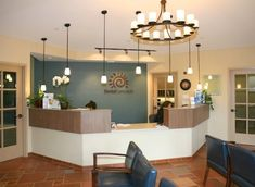 dental office reception ... Nice calm shade of blue for walls. Nice cream colored trim