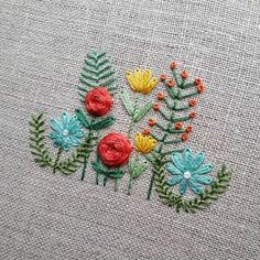 Stitching up another old favorite for the shop. It might be acting like winter outside, but these flowers remind me warmer days (and drinks on the patio ) are just around the corner.