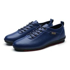 US $22 New Arrival Leather Casual Men Shoes Leisure Derby High Quality Driving Soft Formal Zaptos hombres Size 39~44 Black Blue