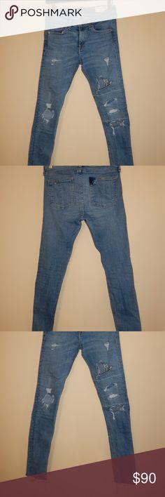 rag & bone Rag & Bone Distressed Super Skinny Jean. Five pocket detail. Super skinny jeans with frayed hem.   Size: US 28  Original Price: $120 rag & bone Jeans Ankle & Cropped