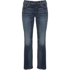 Silver Jeans Studded bootcut jeans ($230) ❤ liked on Polyvore featuring jeans, relaxed jeans, distressed jeans, boot-cut jeans, ripped blue jeans and relaxed fit jeans