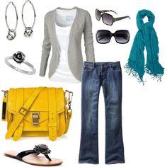 Splash of mellow yellow:) Looks Style, Style Me, Look Fashion, Fashion Outfits, Yellow Purses, Yellow Bags, Yellow Handbag, Quoi Porter, Fru Fru