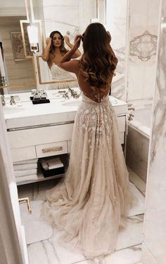 Princess beige long prom dresses, modest spaghetti straps junior prom dresses, country wedding dresses for bride V Neck Backless Lace Mermaid Cheap Wedding Dresses Online, Cheap Bridal Dresses Beige Prom Dresses, Junior Prom Dresses, Pretty Dresses, Beautiful Dresses, Country Wedding Dresses, Dream Wedding Dresses, Wedding Gowns, Wedding Bride, Wedding Ideas