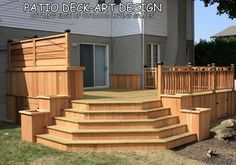 Another view: Patio Deck-Art Designs®TREX traditional porch (stairs on the other side, love the planter boxes and bench, but might turn the bench into an herb garden)