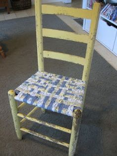 tutty on weaving chair seat with fabric