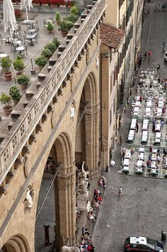 From the tower in Palazzo Vecchio.  Overlooking the terrace of the Uffizi Gallery