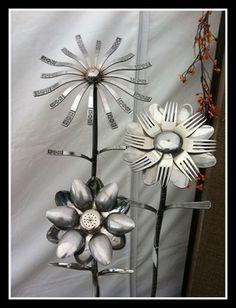 silverware and cutlery as garden flowers