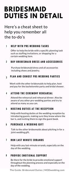 Wedding Planning: Bridesmaid Duties in Detail A bridesmaid plays a key role in any wedding - providing emotional support to the bride; helping with the planning process; and being involved in. Mod Wedding, Budget Wedding, Wedding Tips, Wedding Events, Destination Wedding, Trendy Wedding, Wedding Timeline, Wedding Themes, Wedding Details
