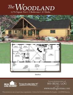 The Woodland Log Home Floor Plan
