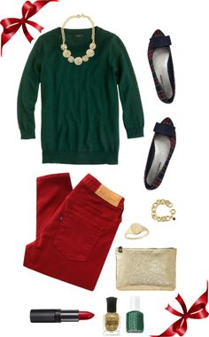 Christmas in an outfit. Festive and cute. Id swap the flats for booties though!