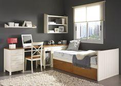 Dormitorio Juvenil de madera cama nido y con escritorio. Más info en www.tudecora.com
