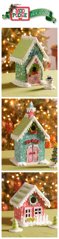 Mod Podge Home for the Holidays Week 5 - This weeks project is a DIY Christmas Village made using Mod Podge, Mod Melts/Molds and Collage clay.