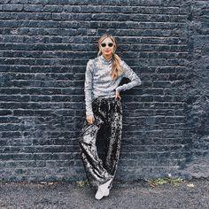 @emilymen Chic Fashionista, Contemporary Fashion, Fashion 2018, Sequins, Feminine, Velvet, How To Wear, Pants, Women's