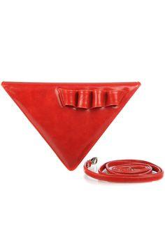 Geanta triunghi piele rosie cu bareta detasabila Sunglasses Case, Bags, Handbags, Bag, Totes, Hand Bags