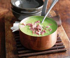 Préparez une délicieuse #soupe de #petits #pois au #jambon