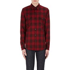 Saint Laurent Men's Plaid Woven Western Shirt ($990) ❤ liked on Polyvore featuring men's fashion, men's clothing, men's shirts, men's casual shirts, multi, mens wool shirts, mens plaid western shirts, mens tartan shirt, mens cowboy shirts and mens western style shirts