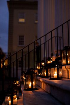 Like these laterns for the steps and bare railing at our venue!