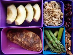 """Organic Fuji apple, mushroom and brown rice pilaf, dried cranberries, pecans, steamed asparagus, and Jamaican jerk Quorn """"chicken."""""""