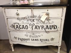 Re-purposed chest with painted French type. Spotted at a First Fridays event in Kansas City.