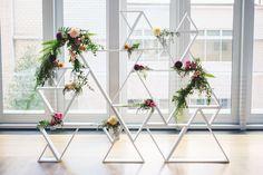 Rob + Kristen Photography //Geometric wedding backdrop //Mint Museum Uptown Charlotte // Cafe Au Lait Dahlias // Fern // Jimmy Blooms Floral
