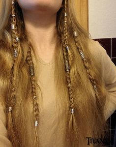 beaded viking braids maybe less commitment than dreads Hair Dos, My Hair, Braided Hairstyles, Cool Hairstyles, Viking Hairstyles, 1940s Hairstyles, Mermaid Hairstyles, Viking Braids, Small Braids