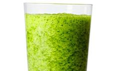 Green Smoothie :: Vital Juice :: Made with a banana, kale, a Granny Smith apple, and parsley leaves.
